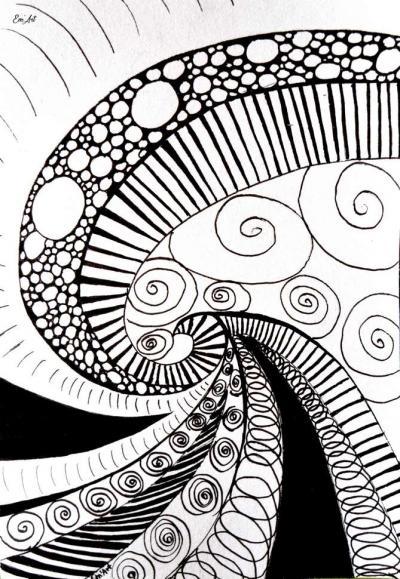 Carte postale zentangle dessin encre de chine motif spirale ...