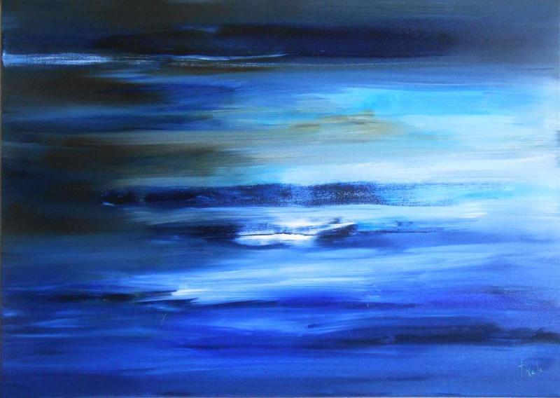 Tableau Blues ... marine abstraite
