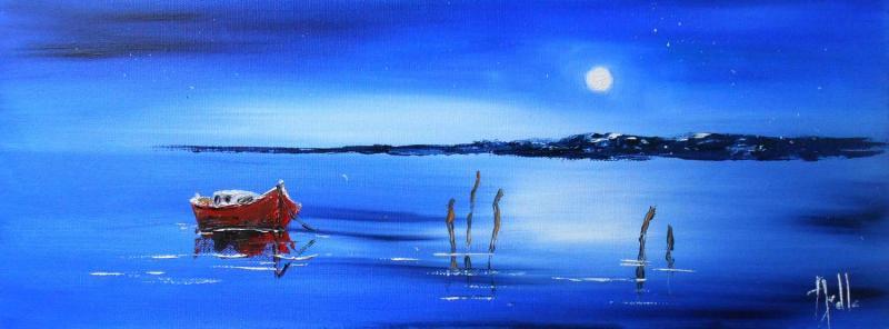 Tableau Nuit au Bassin d'Arcachon