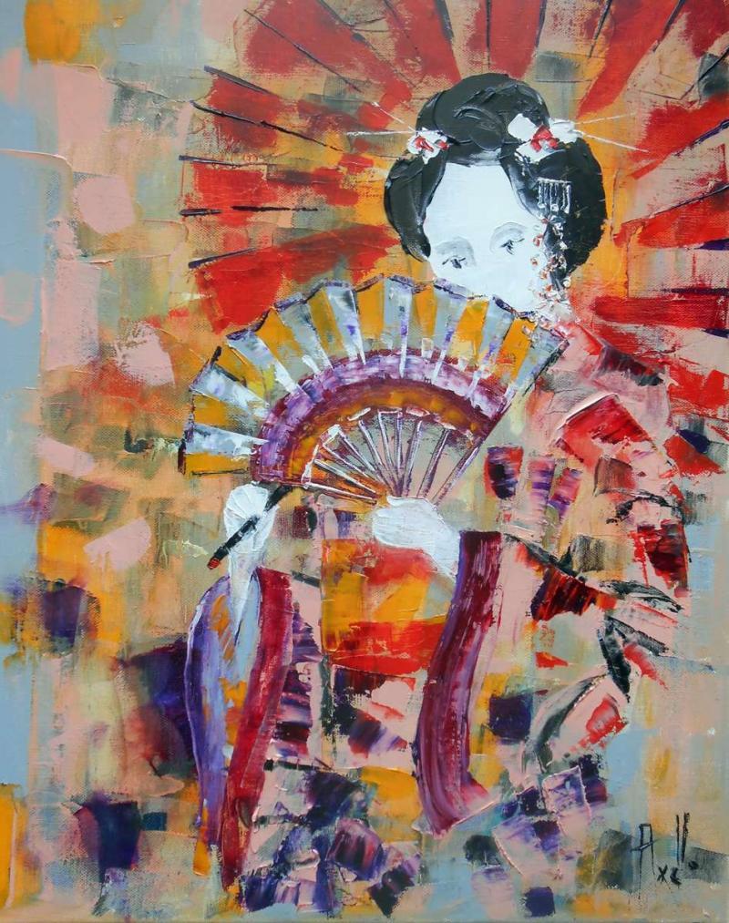 Tableau La Geisha à l'éventail