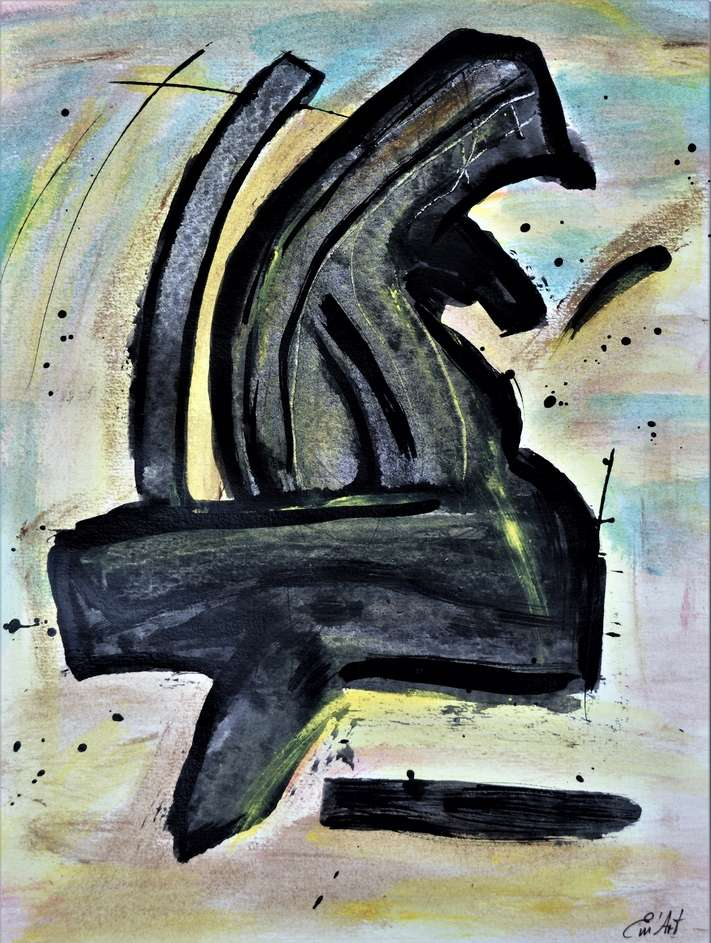 L 6 - Acrylique abstraite et encre de chine par Em'Art
