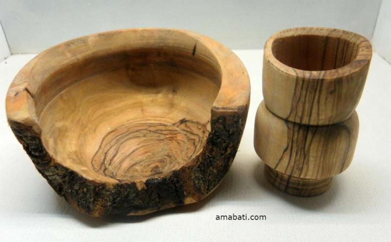 Ensemble Vide-poche et pot en bois d'olivier par Amabati