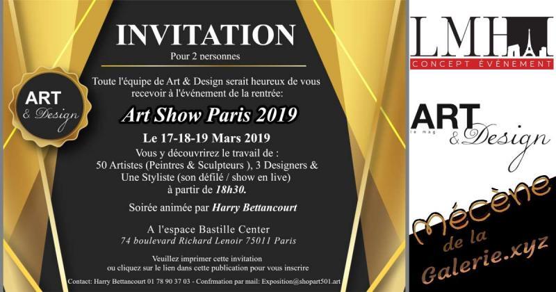 Art Show 2019 vos cartons d'invitation offerts par Art&Design