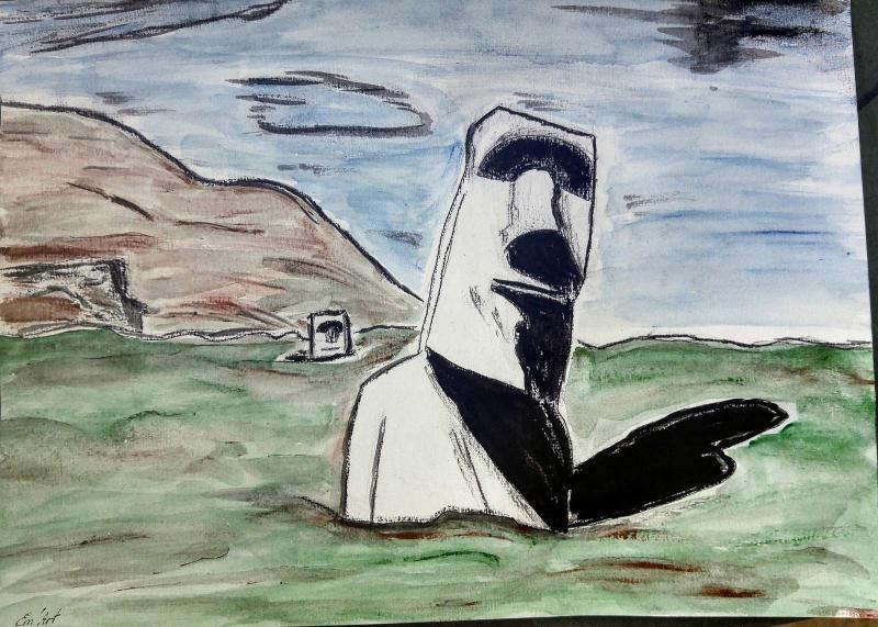 Statues Moaï, aquarelle et encre de chine par Em'Art
