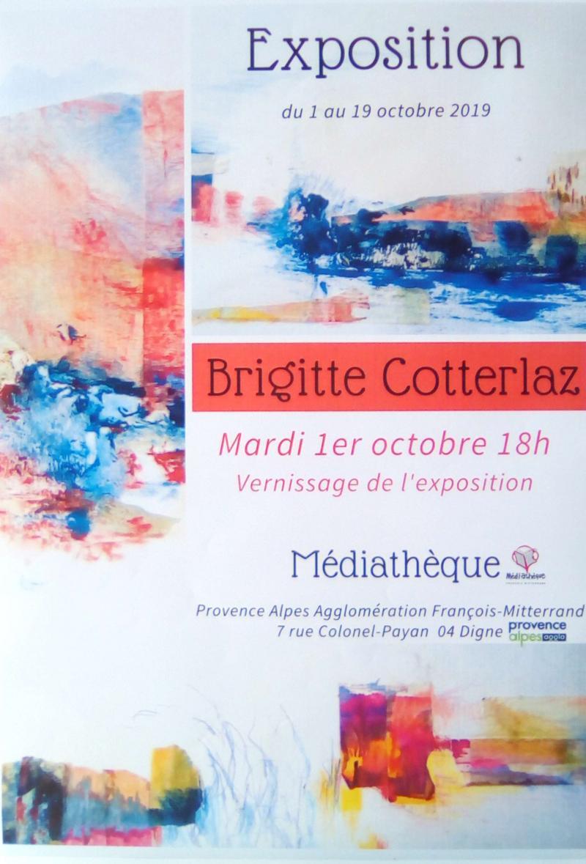 Exposition de Brigitte Cotterlaz à la médiathèque Digne les bains (dpt04)