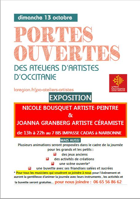 Journée Régionale Portes Ouvertes des Ateliers d'Artistes d'Occitanie (dpt 11)
