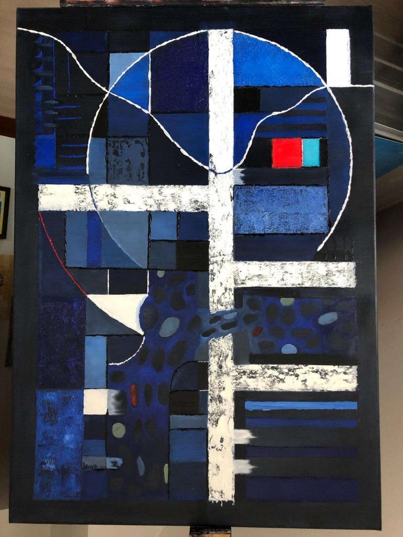Amorphie et structure en bleu cobalt par Edouard Drumm - Prix 600€