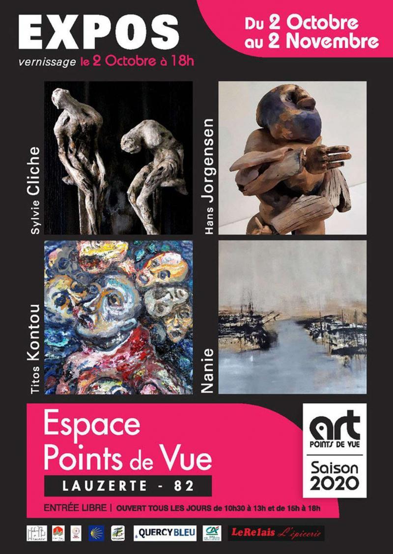 Exposition Titos Kontou, Hans Jorgensen, Sylvie Cliche, Nanie (dpt 82)